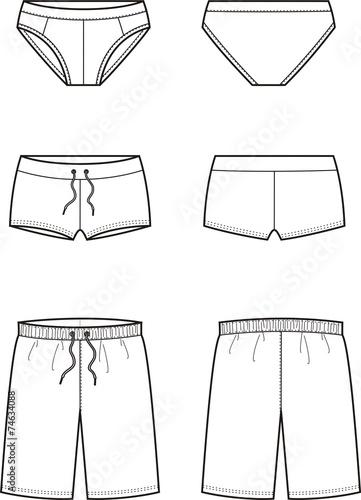 Vector illustration of men's swimming trunks