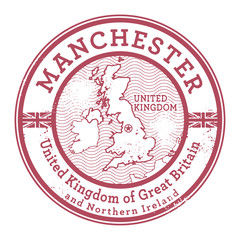 Grunge rubber stamp with words United Kingdom, Manchester