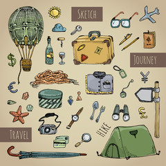 Travel icons set retro colorful.