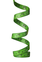 Spiraling green measuring tape