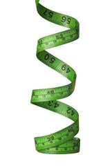 Spiraling green measuring tape