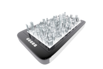 City buildings in mobile tablet