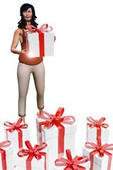 Woman holding gift box