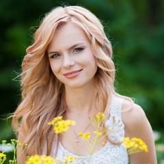 blond bride  in  nature