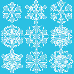 Geometric blue snowflakes set