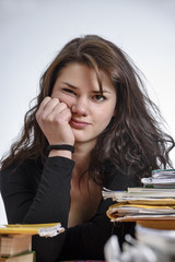 Italy, young student stressed by the school homework