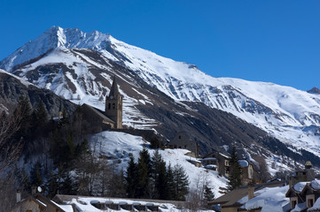 Mountains and church of Notre-Dame in La Grave, France