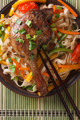 Roasted duck leg with rice noodles top view vertical