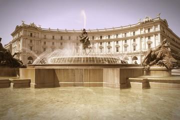 Rome - Repubblica Square. Cross processed color tone.
