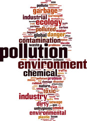 Pollution word cloud concept. Vector illustration
