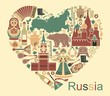 Symbols of Russia in the form of heart - 74637668