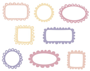 Set of simple doodle frames
