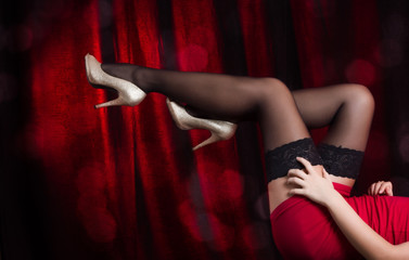 Woman's stockinged legs