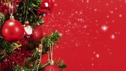 snow background with detail of decorated christmas tree