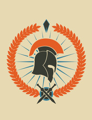 Emblem with spartan helmet vector illustration, eps10