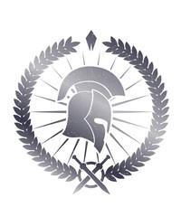 Emblem with spartan helmet scratched vector illustration