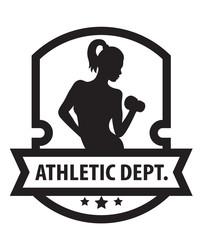 Emblem with Athletic Girl vector illustration, eps10