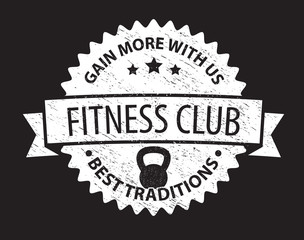 fitness club sign dark vector illustration, eps10, easy to edit