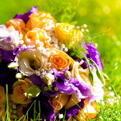 wedding flowers bouquet yellow and purple rose