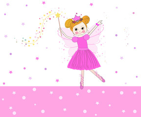 Lovely fairy tale vector with pink stars