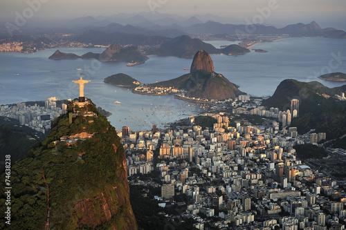 Papiers peints Rio de Janeiro Aerial view of Christ, Sugarloaf, Guanabara Bay, Rio de Janeiro