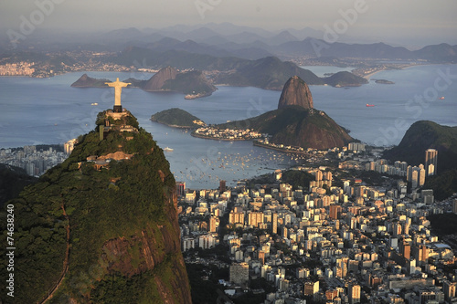 Aerial view of Christ, Sugarloaf, Guanabara Bay, Rio de Janeiro Poster