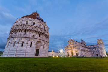 Pisa, Piazza dei Miracoli and Leaning Tower, sunset, lights on