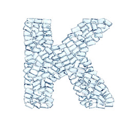 K lettera diamanti cristalli gemme 3d, sfondo bianco