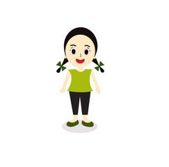 cute cartoon illustration of a girl