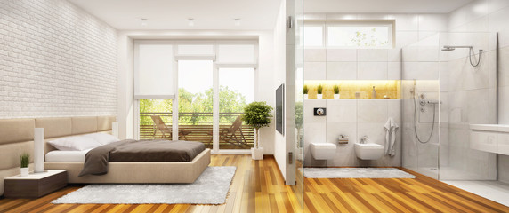 Bedroom and bathroom in a modern style