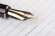 alte Füllfederhalter und Notebook