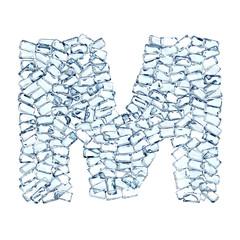 M lettera diamanti cristalli gemme 3d, sfondo bianco