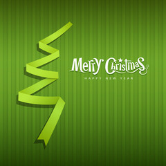 Merry Christmas origami green ribbons paper