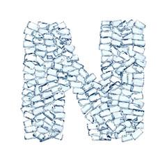 N lettera diamanti cristalli gemme 3d, sfondo bianco