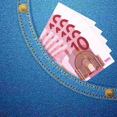 denim pocket and 10 euro banknotes