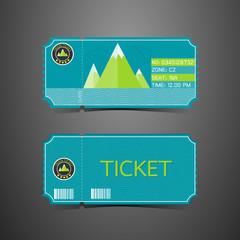 Ticket Mountain Park Retro Design Template