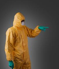 Scientist with protective hazmat suit