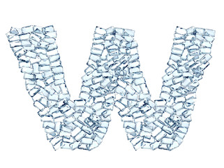 W lettera diamanti cristalli gemme 3d, sfondo bianco