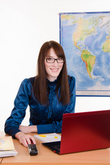 Tourism agent the workplace in office