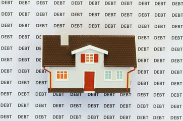 House on background with words debt