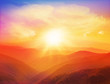 Majestic sunset in the mountains landscape with sunny beams. - 74640473