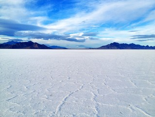 White salt flats near Bonneville Utah