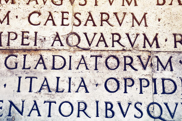 Latin inscription in Rome, Italy