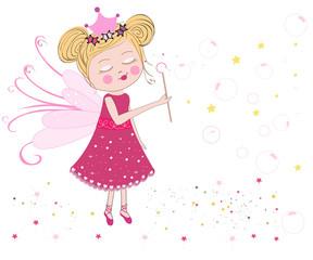 Cute fairytale soap bubbles vector