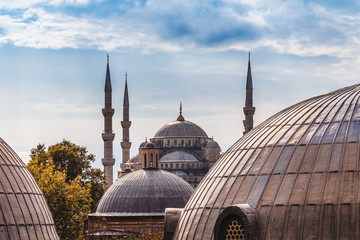 Blue Mosque in Istanbul seen from Hagia Sophia