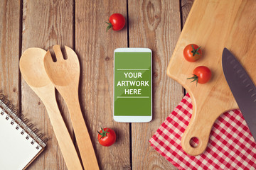 Smartphone mock up template for cooking apps display