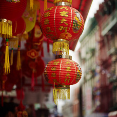 Red chinese lamp in Chinatown in New York city, USA