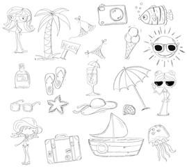 Набор каракули иконок, путешествия