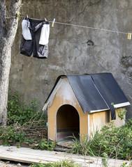 Caseta de perro con una cuerda y ropa tendida