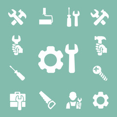 working tools isolated icons set of hammer wrench screwdriver